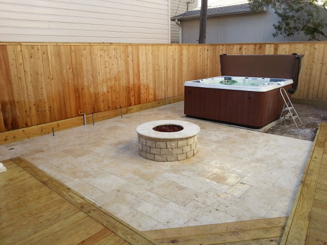 Houston Texas Fire Pit, Travertine Patio - Fire Places And Fire Pits
