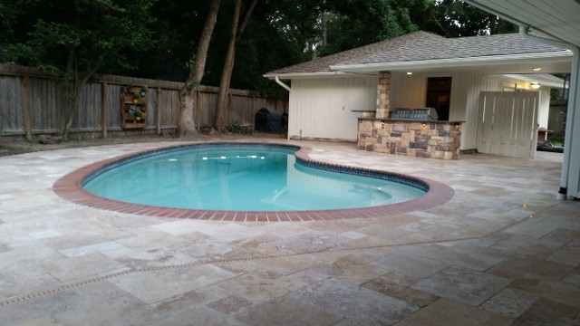 Houston Texas Travertine Pool Patio