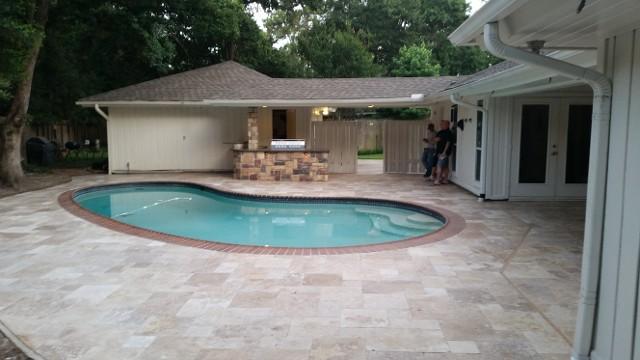 Genial Houston Texas Travertine Pool Patio