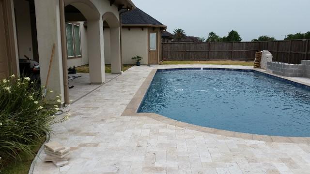 League City Texas Travertine Pool Patio