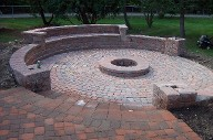 Friendswood, Texas, Bench Seating, Brick Paver Patio, Fire pit, Drainage System