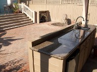 After Picture.. Galveston, Texas, Belgard Brick Paver Patio, Arbor, Outdoor Kitchen