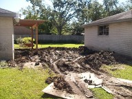 Before Picture, Houston, Texas, Belgard Brick Paver Patio, Fence and Pergola