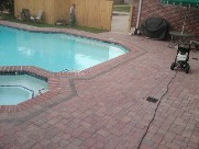 Clear Lake Texas Pool Decking Belgard Cambridge LCollection Brick Pavers Drainage Retaining Wall Walkway Landscaping Fire Pit
