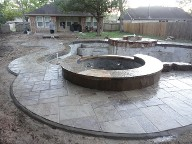Dickinson Texas Pool Deck Fire Pit Drainage Landscaping Steps Retaining Wall