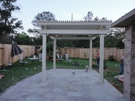 Woodlands Pergola Brick Pavers Water Feature Drainage System, Bench Seating  Landscaping, Fire Pit