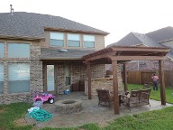 League City, Texas Pergola Brick Pavers Decking Drainage System Landscaping Outdoor Kitchen Lighting Fire Pit