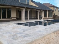 Friendswood Texas Pool Decking Travertine Brick Pavers Drainage Retaining Wall Walkway