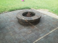 League City Belgard Fire Pit and Brick Paver Patio