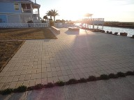 Galveston Island, Patio, Bench Seating, Fire Pit, Walkway, Drainage system