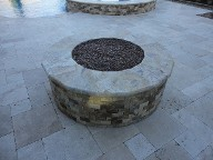 Friendswood Texas Fire Pit Travertine Pool Decking Fountain Channel Drainage System Landscaping